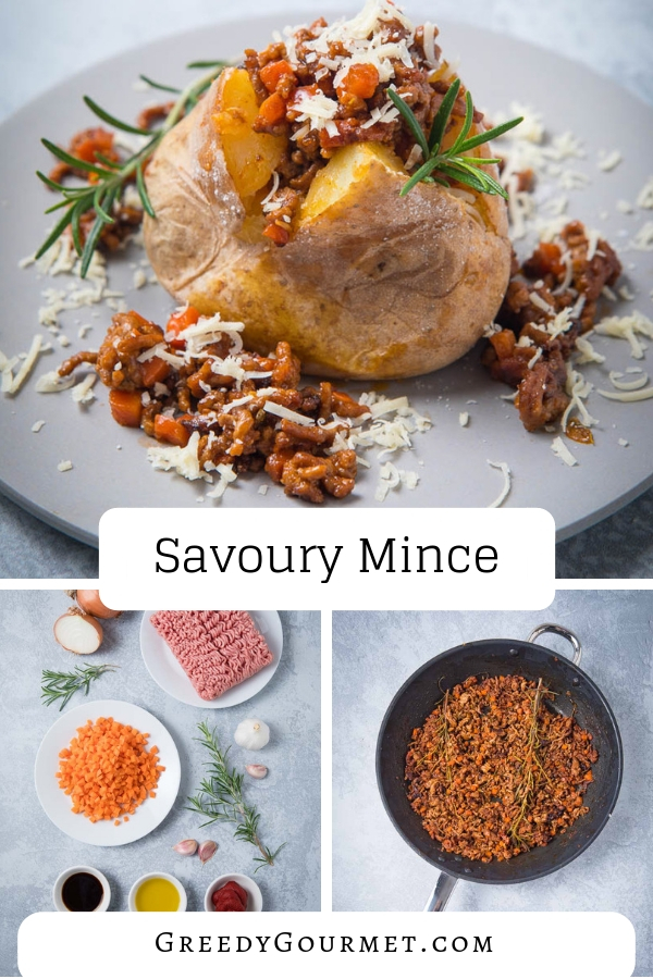 This savoury mince recipe I made for the Try Lamb, Love Lamb campaign delivers bold flavours of lamb mince. Serve this gourmet savoury mince recipe over baked potatoes and top with cheddar cheese! #lamb #mincemeat