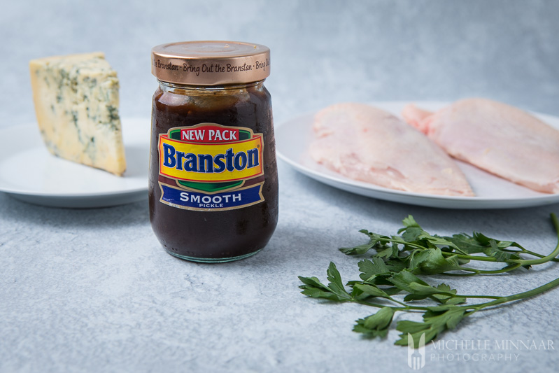 A brown jar of Branston pickle spread