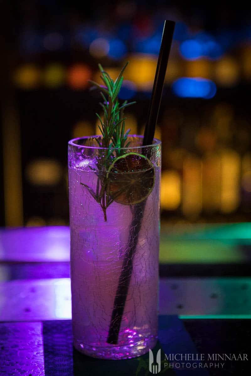 A purple cocktail