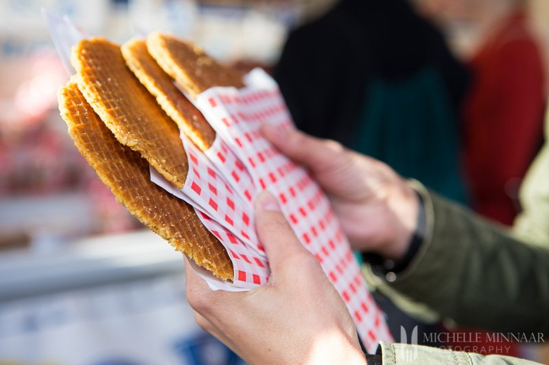 A close up of stroop waffles