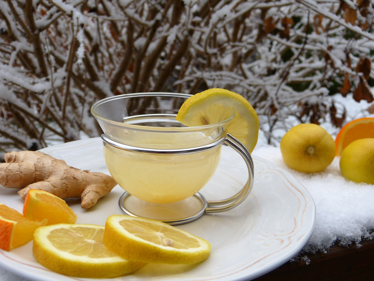 A glass tea cup and lemons and ginger on a plate to help preventing sea sickness
