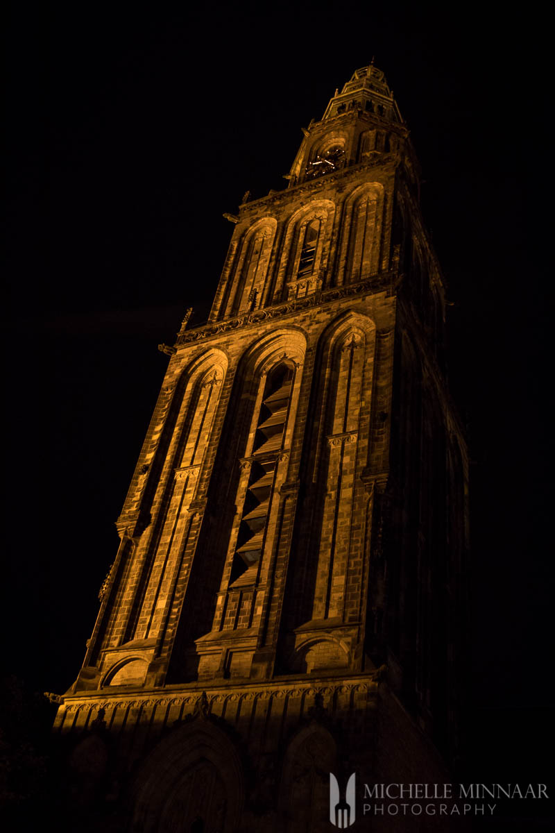 A tall gold steeple