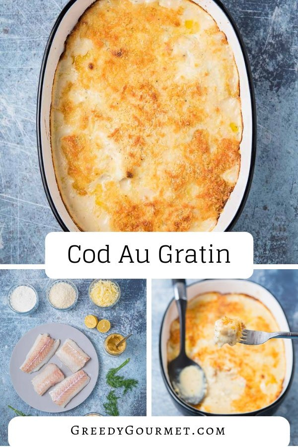 This cod au gratin is a cheesy seafood recipe using raw cod fillets, baked slowly in a creamy sauce. Topped with grated hard cheese and breadcrumbs.