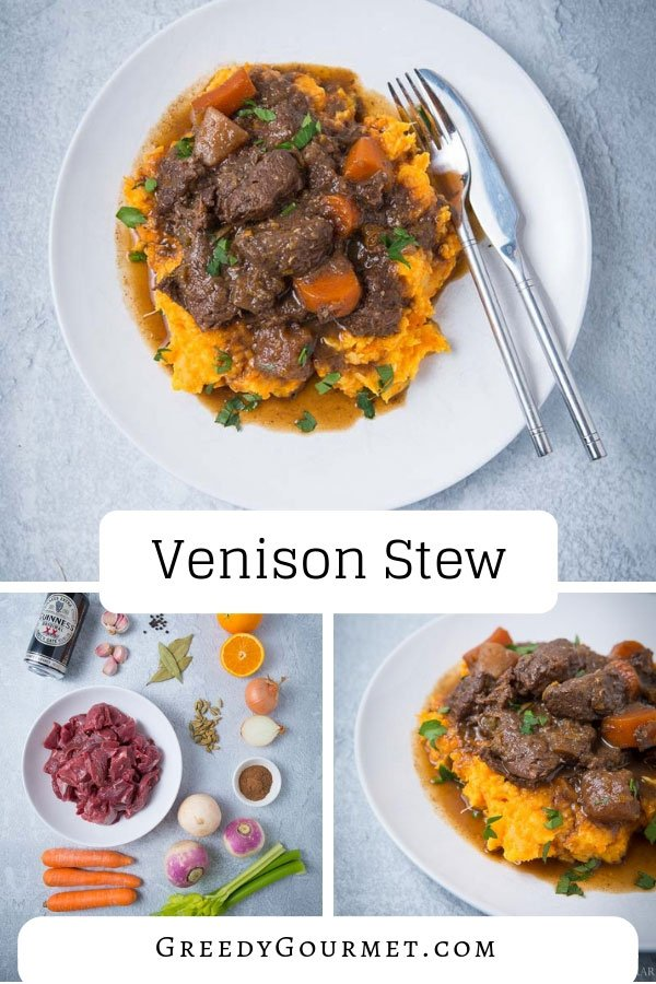 An easy-to-make venison stew recipe. You'll need root vegetables and a can of Guinness. Pair with a creamy vegetable mash and top with fresh parsley leaves.