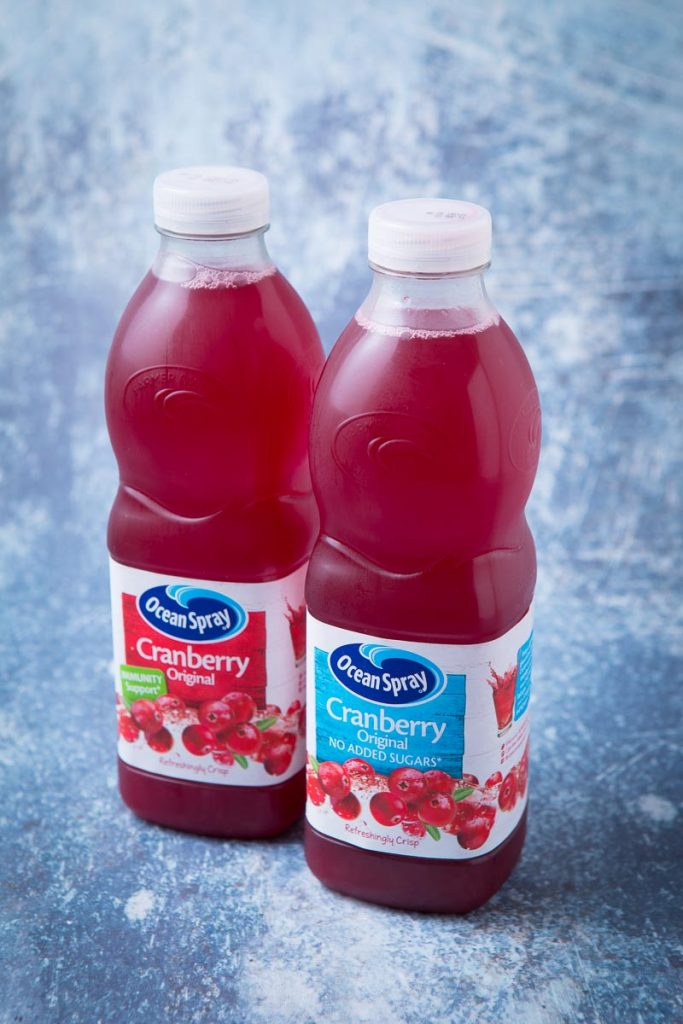 Two bottles of Ocean Spray Cranberry Juice