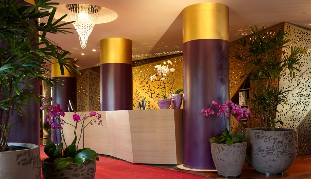 Purple and cream colored hotel lobby