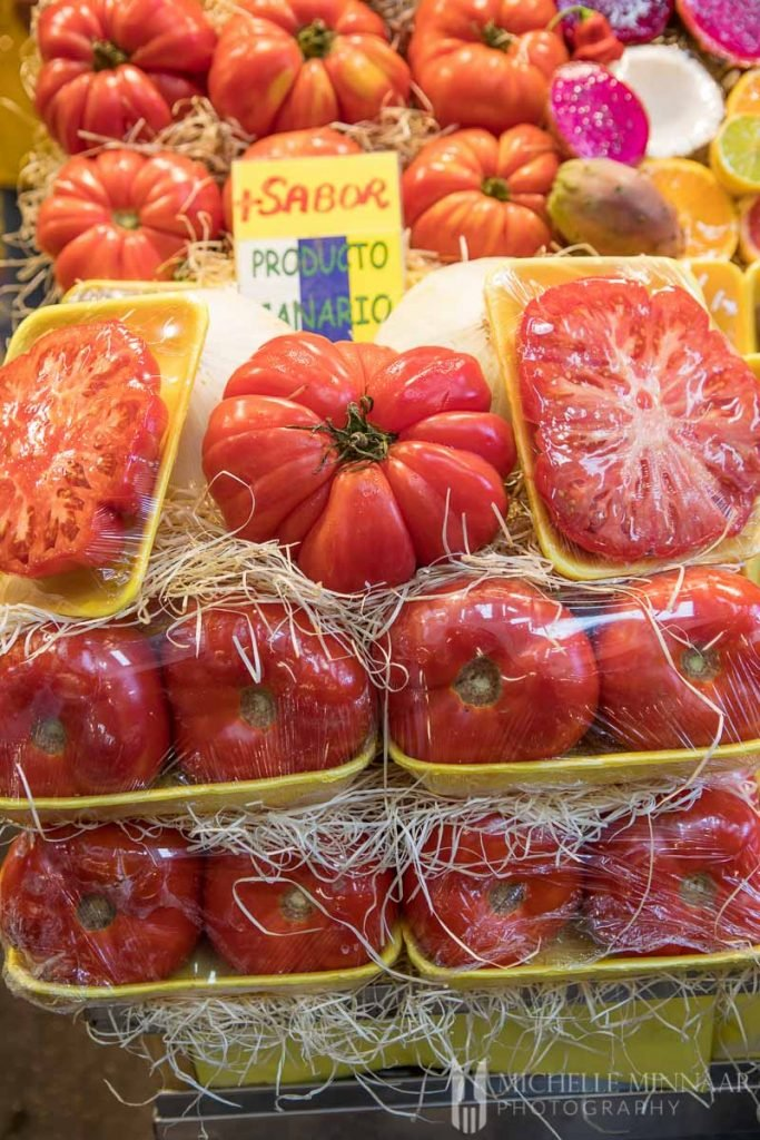 Large tomatoes in a market