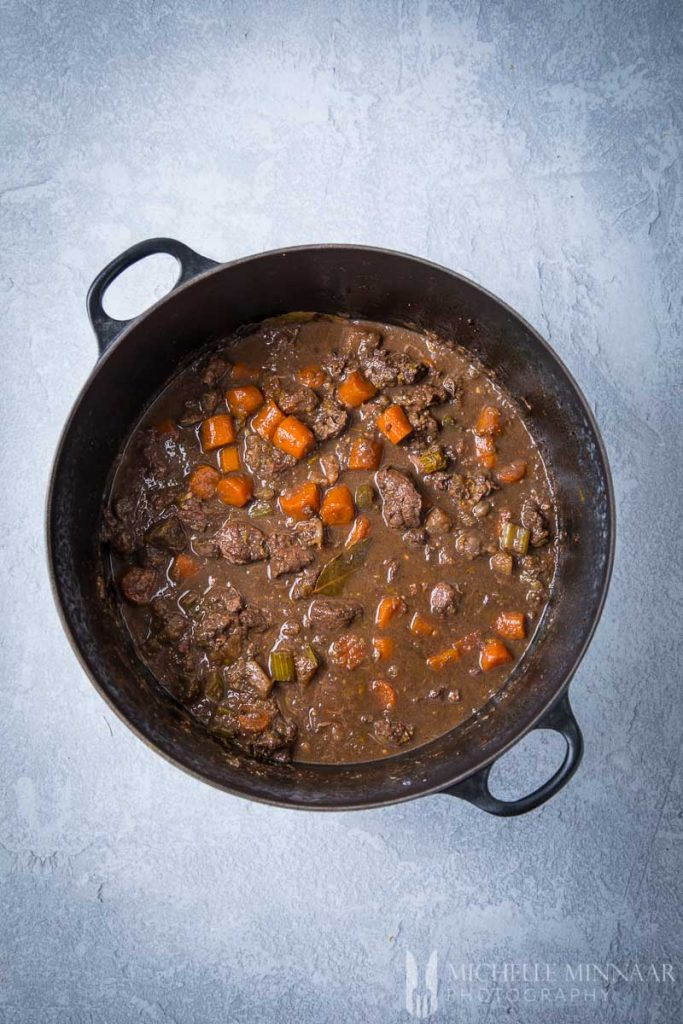 Venison stew in a casserole dish