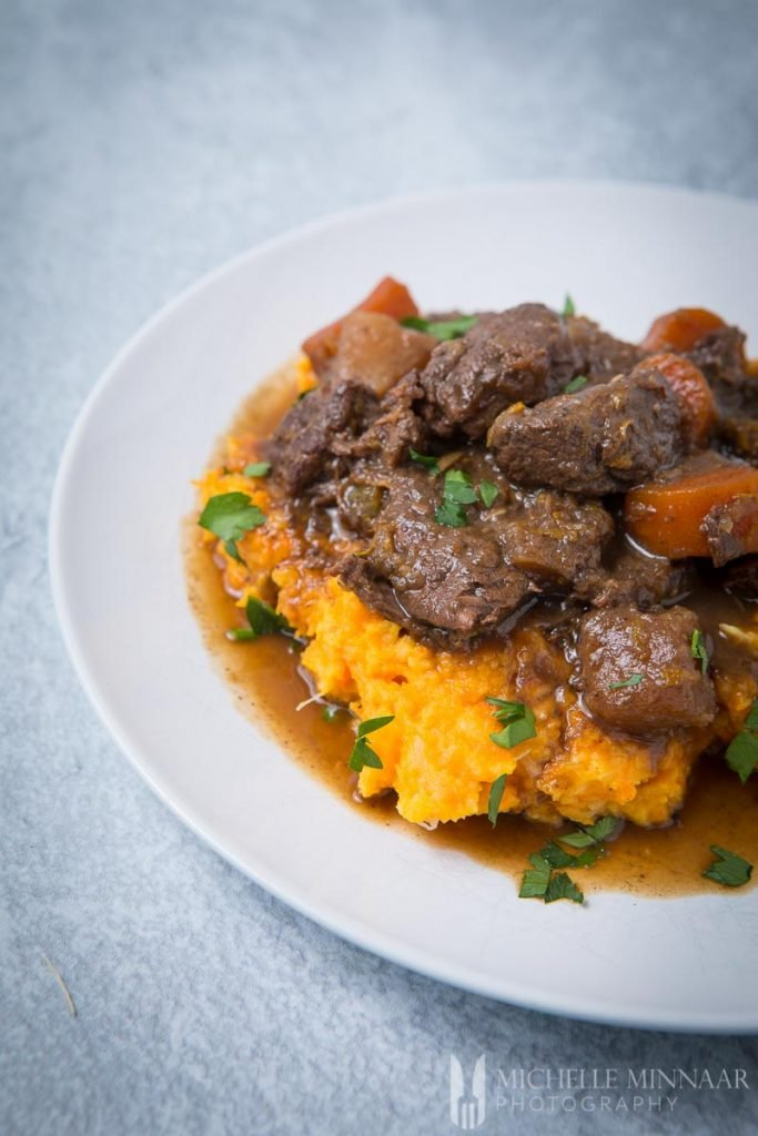 A close up of venison stew