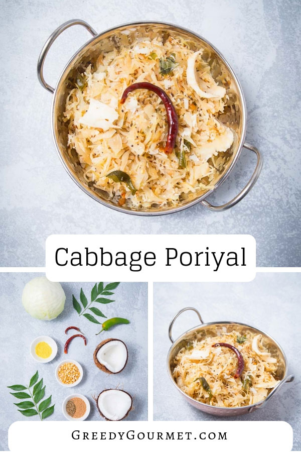 Cabbage poriyal is the ultimate spicy and Indian vegan comfort food. Made with shredded cabbage, spices and grated coconut. Traditional South Indian recipe.
