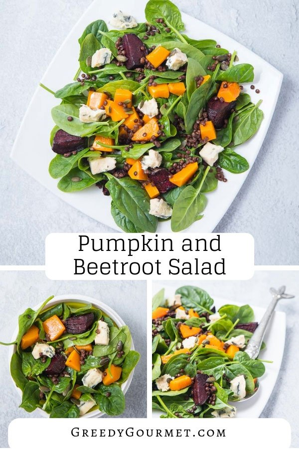 Learn how to make a simple yet sophisticated pumpkin and beetroot salad with blue cheese and lentils. Works best when you roast the pumpkin and beetroot