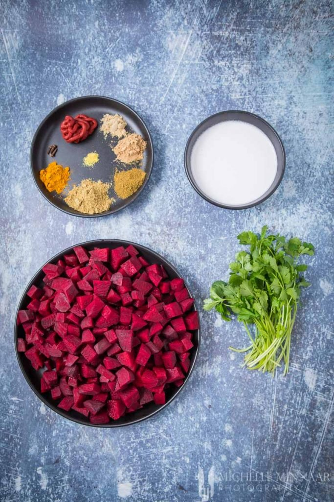 Ingredients for beetroot curry