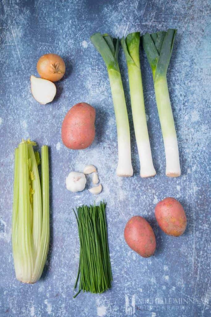Ingredients to make leek and potato soup : Potato onion Garlic Chives