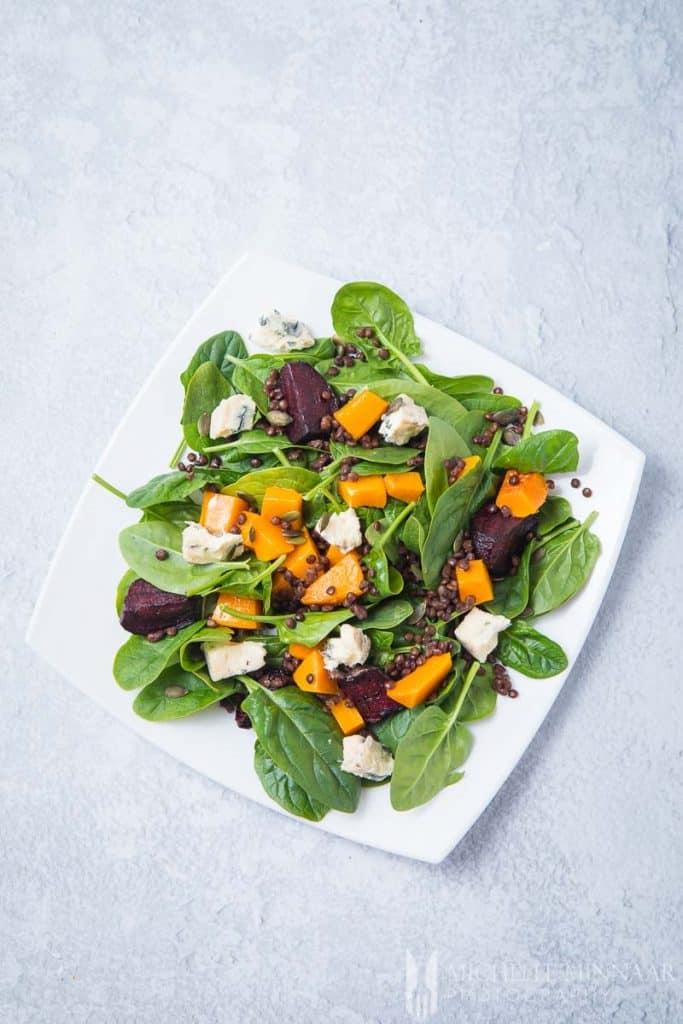 A pumpkin and beetroot salad