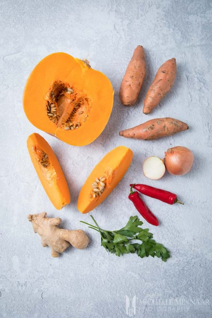 Ingredients to make pumpkin and sweet potato soup