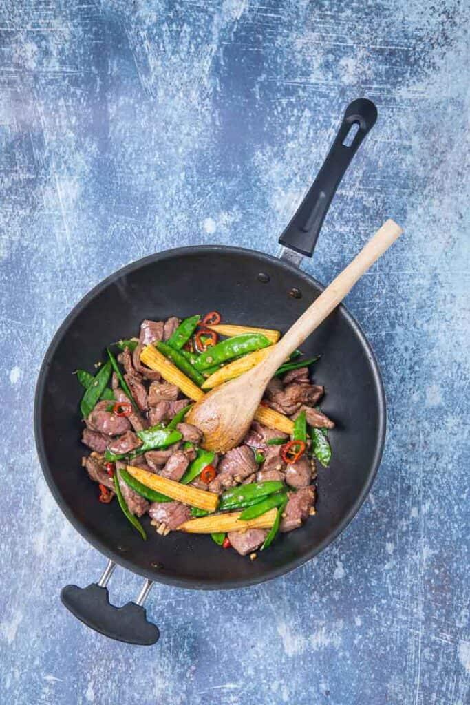 venison stir fry in a skillet