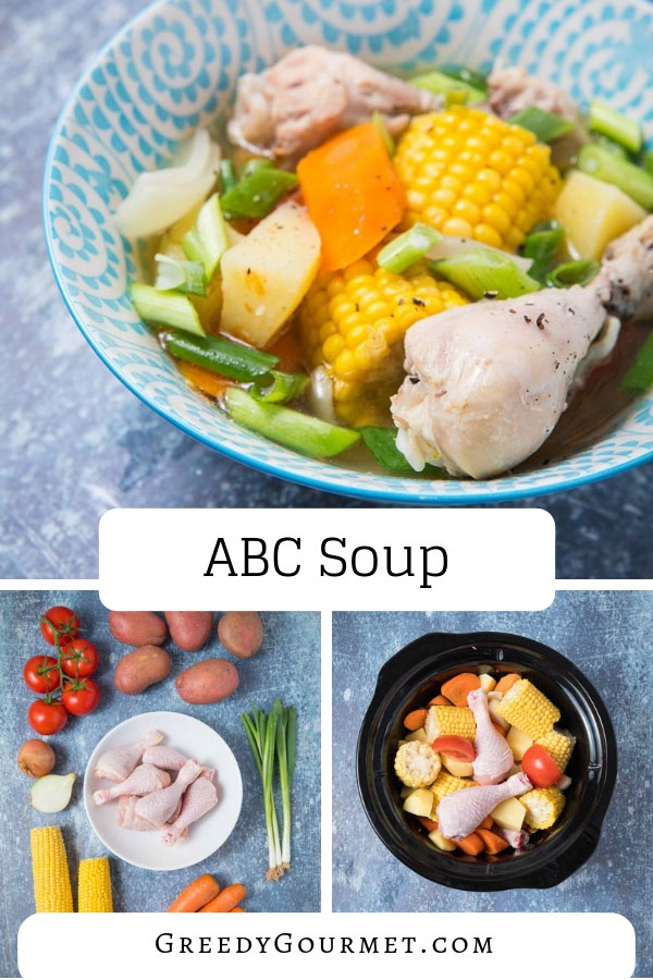 An ABC soup recipe is Asian and very common in Malaysian and Chinese cuisines. ABC soup stands for vitamins A, B & C from carrots, potatoes and tomatoes.