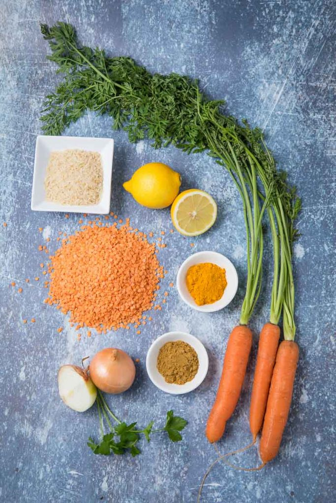 Ingredients to make Lebanese Lentil Soup on a counter