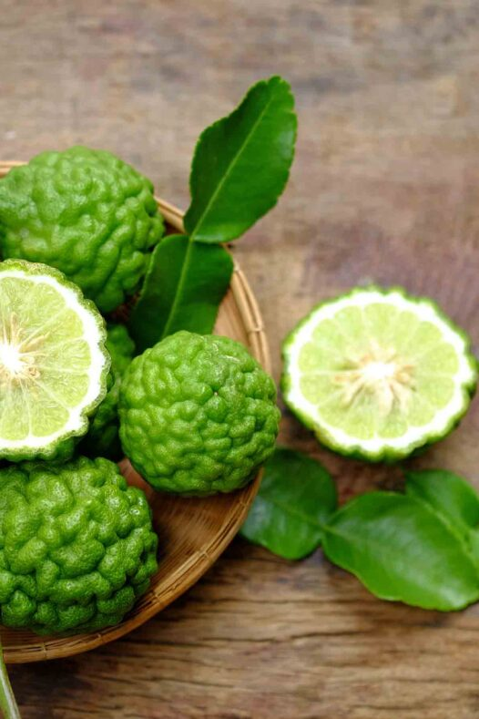 Two cut kaffir limes