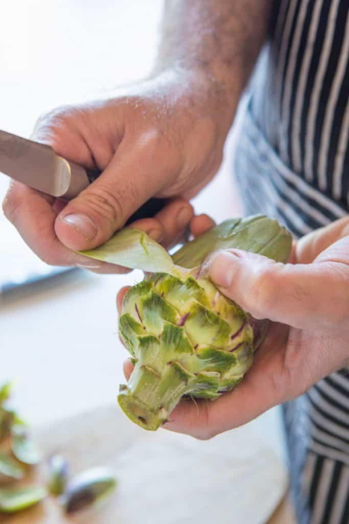 A man peeling an artichoke