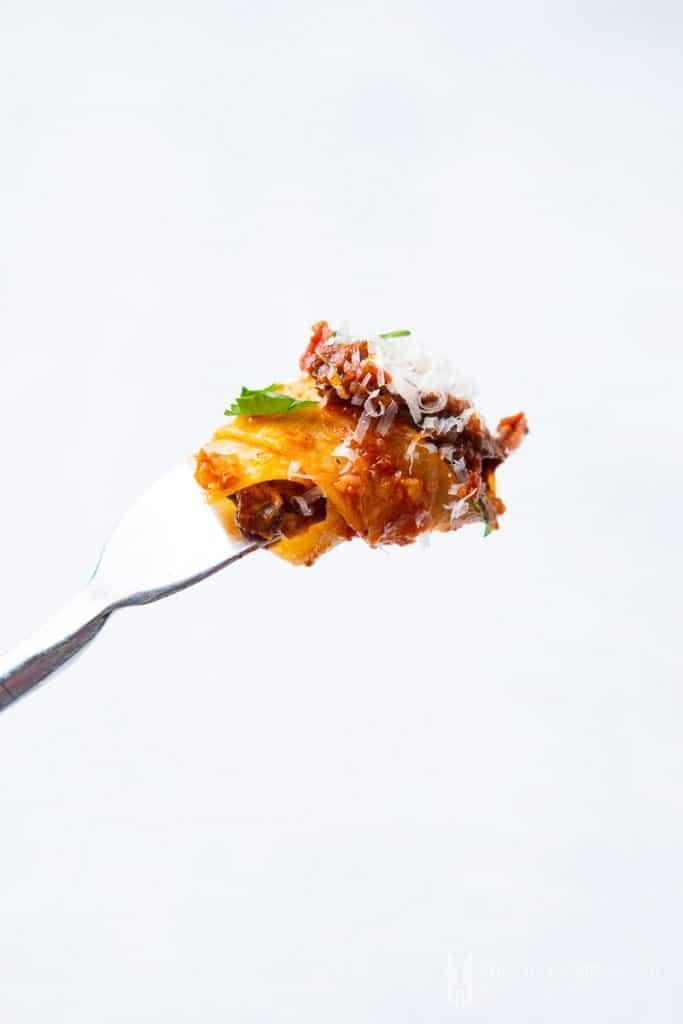 Beef Cheek Ragu on a fork