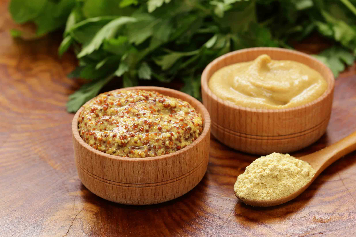 Dijon Mustard in a wooden bowl