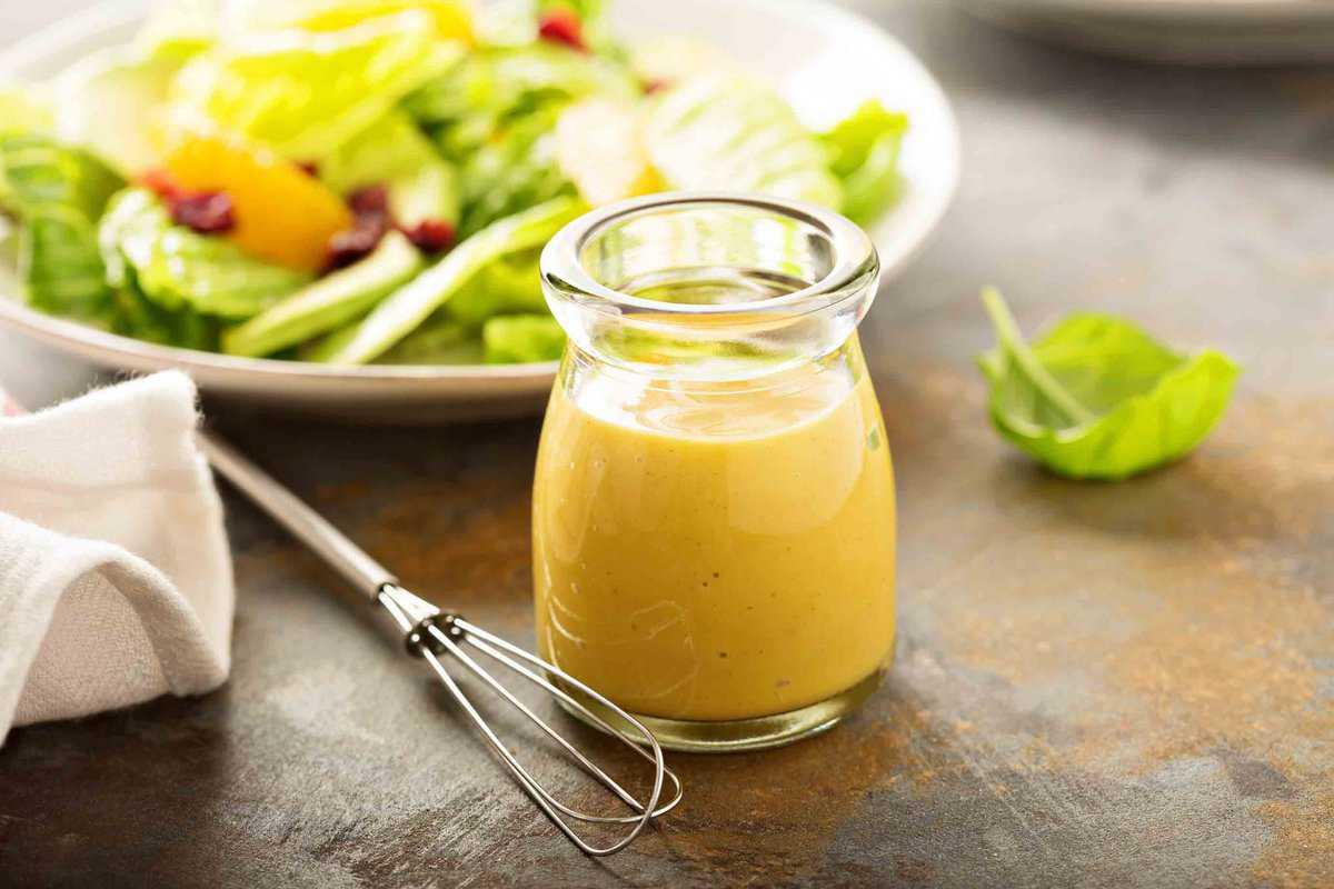 Glass jar of honey mustard