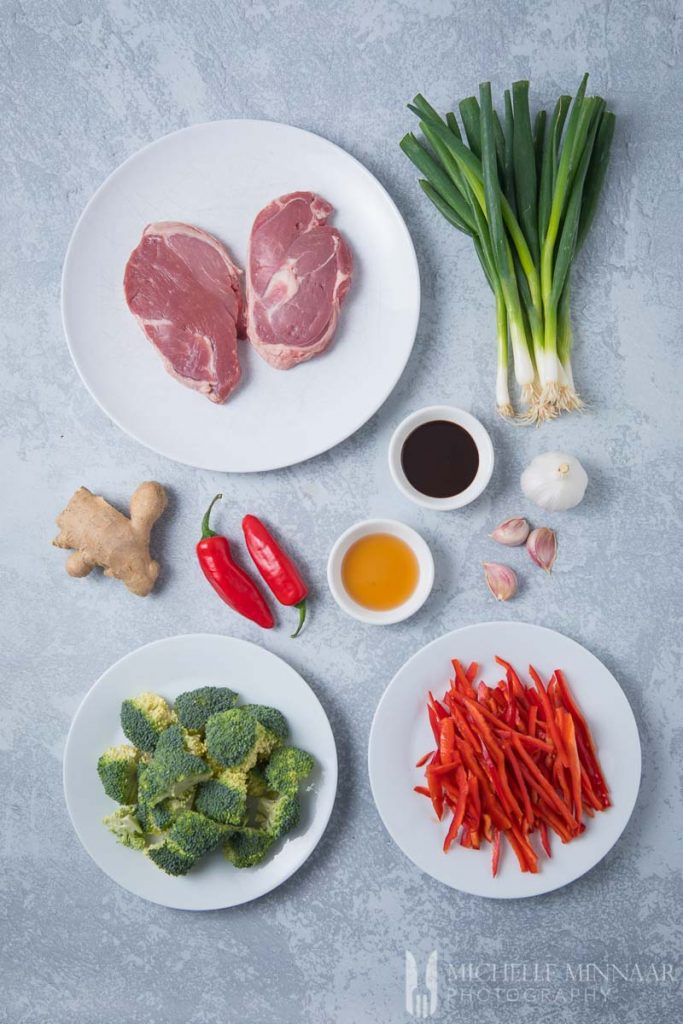Ingredients to make lamb stir fry