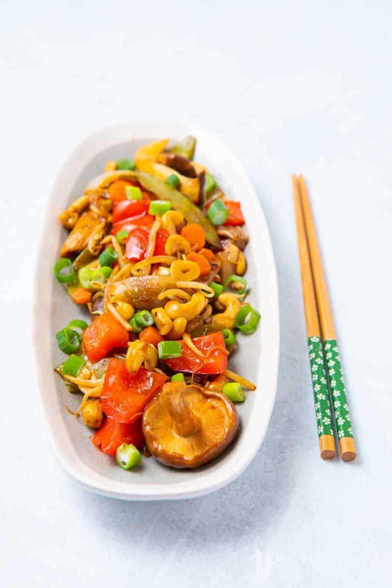 A plate of vegan chop suey