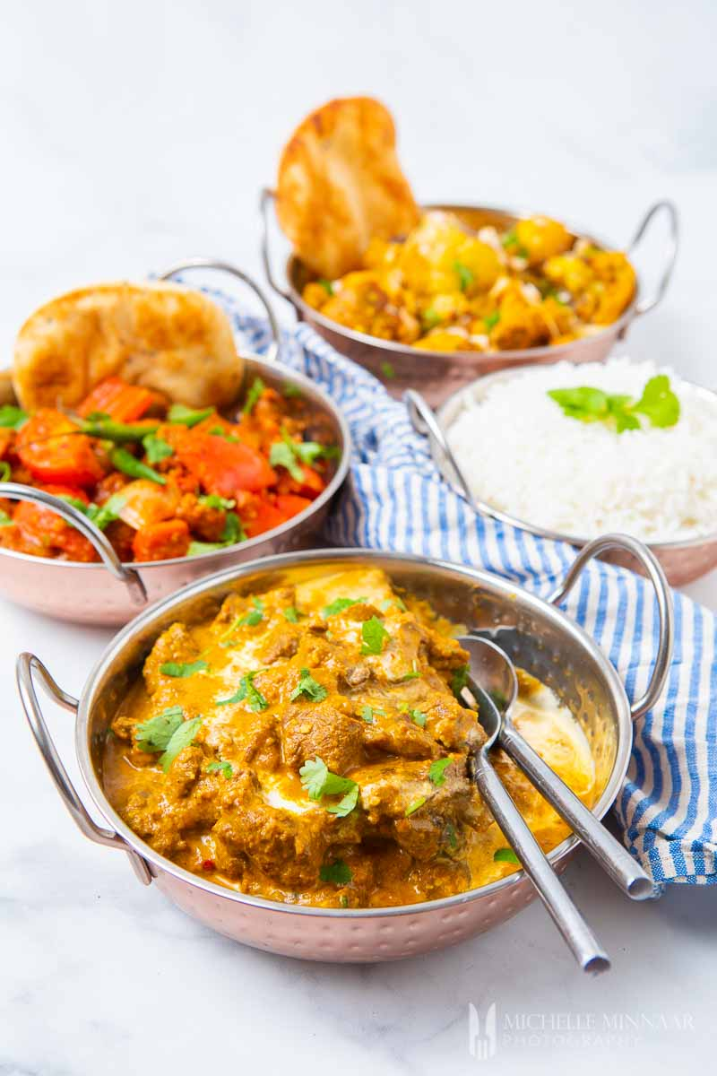 A full Indian meal, four dishes