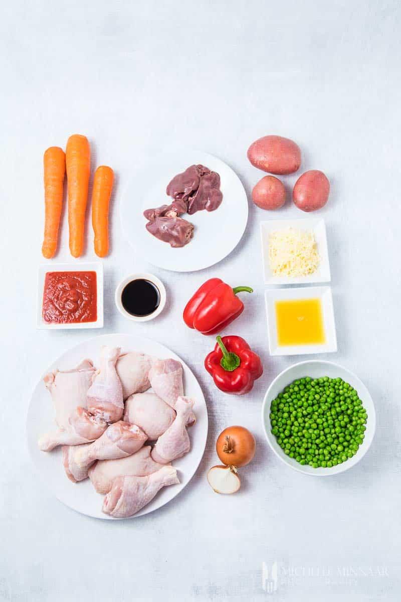 Ingredients to make chicken caldereta