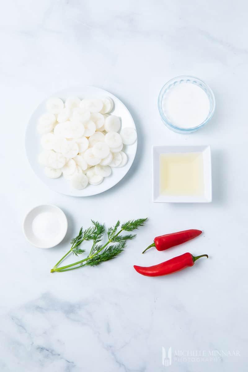 Ingredients to make pickled daikon
