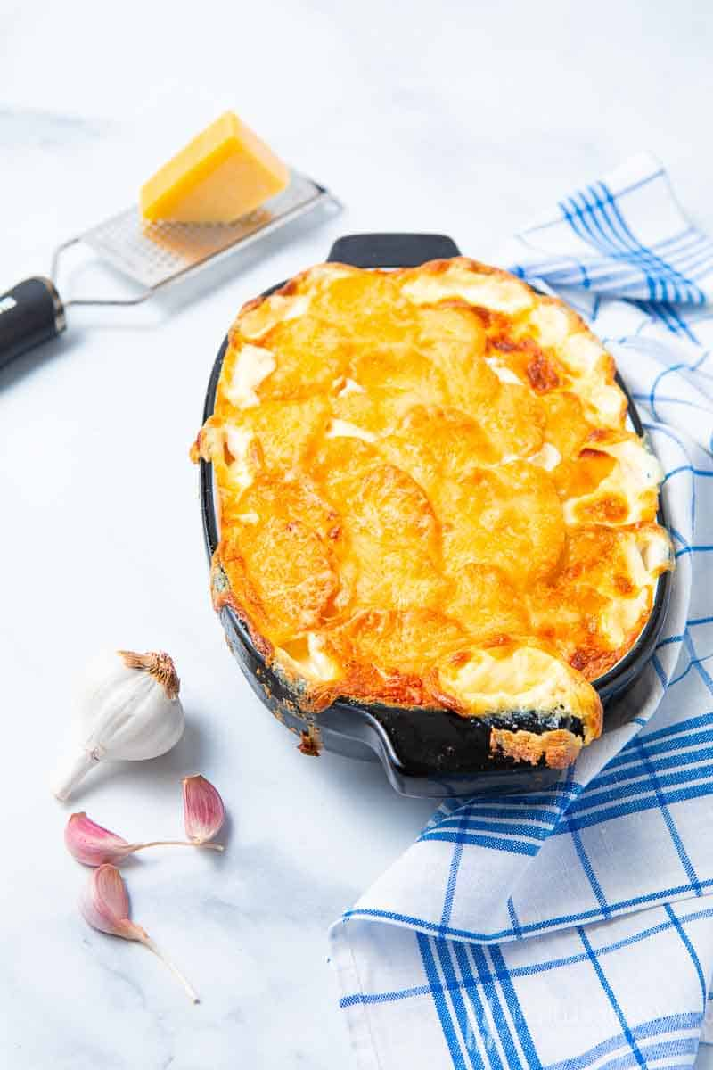 A casserole dish of gratin dauphinois