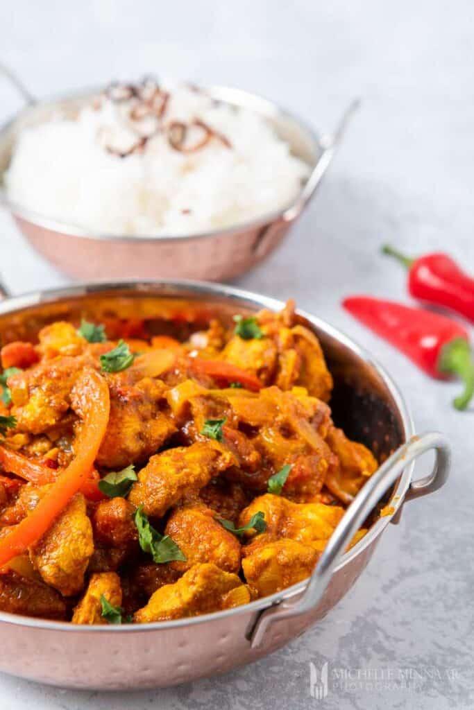 Close up of Chicken Jalfrezi and white rice