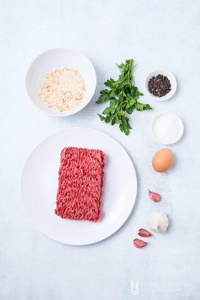 Ingredients to make air fryer meatballs