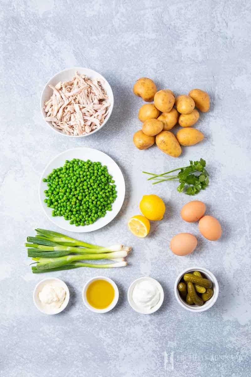 Ingredients to make salad olivieh