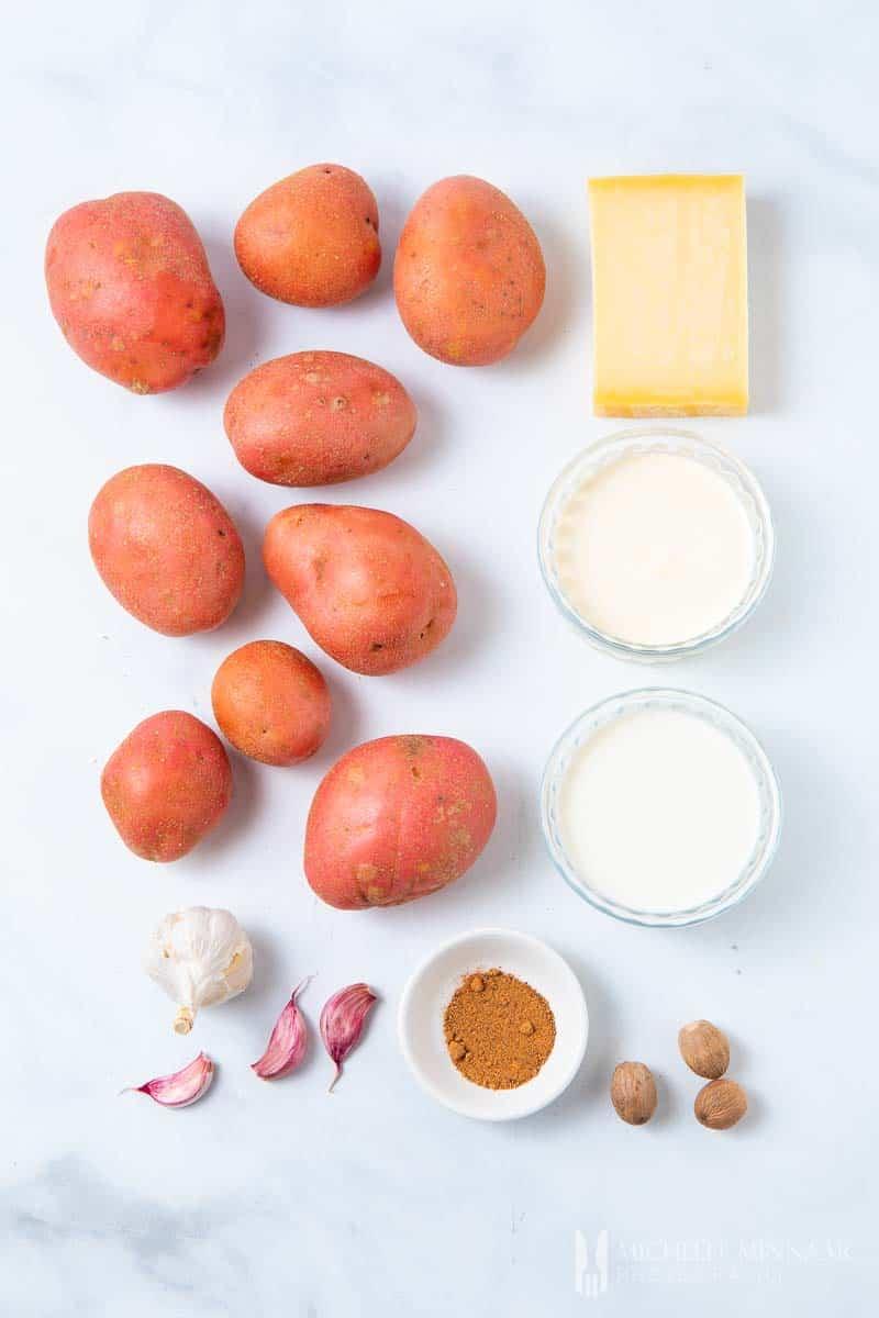 Ingredients to make gratin dauphinois