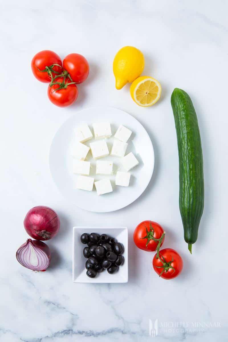 Ingredients to make Mediterranean salad