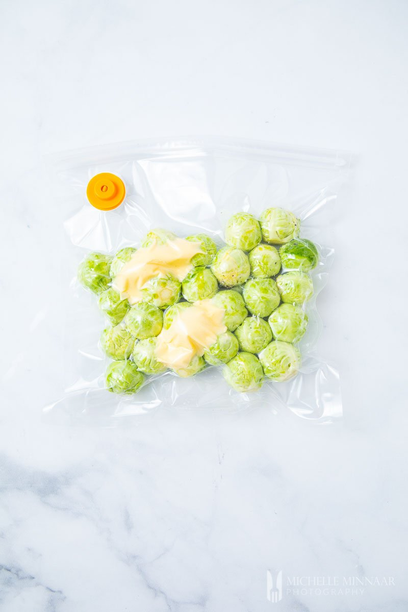 Brussels Sprouts in a sous vide bag with Butter