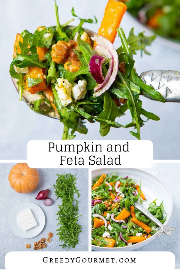 A plate of pumpkin and feta salad