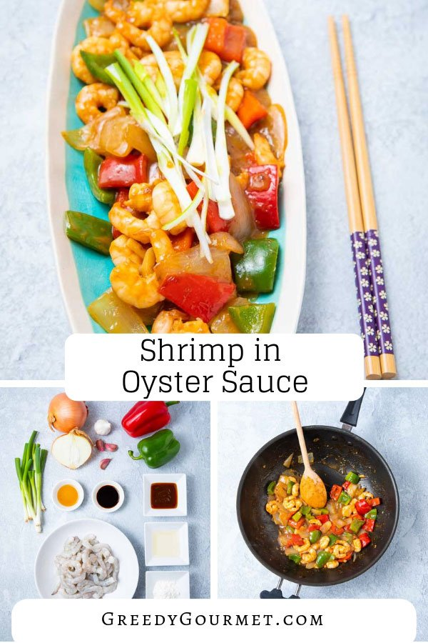 A plate of shrimp in oyster sauce