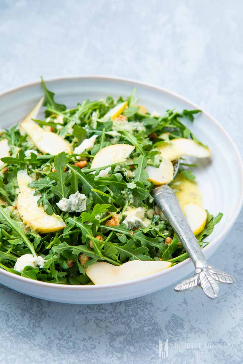 A pear and rocket salad
