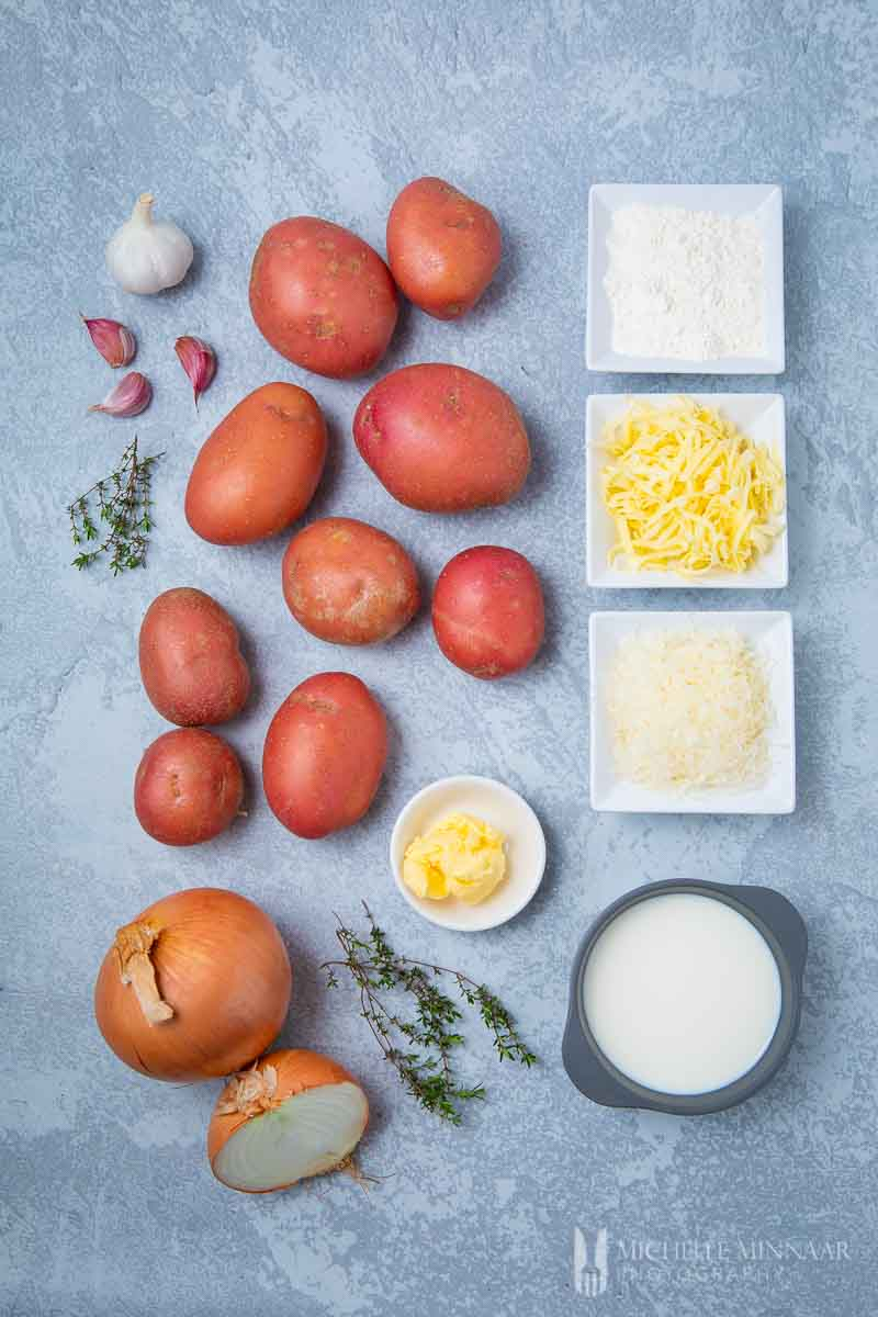 Ingredients to make gluten free scalloped potatoes