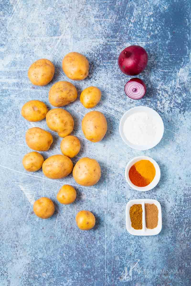 Ingredients to make potato bhajis