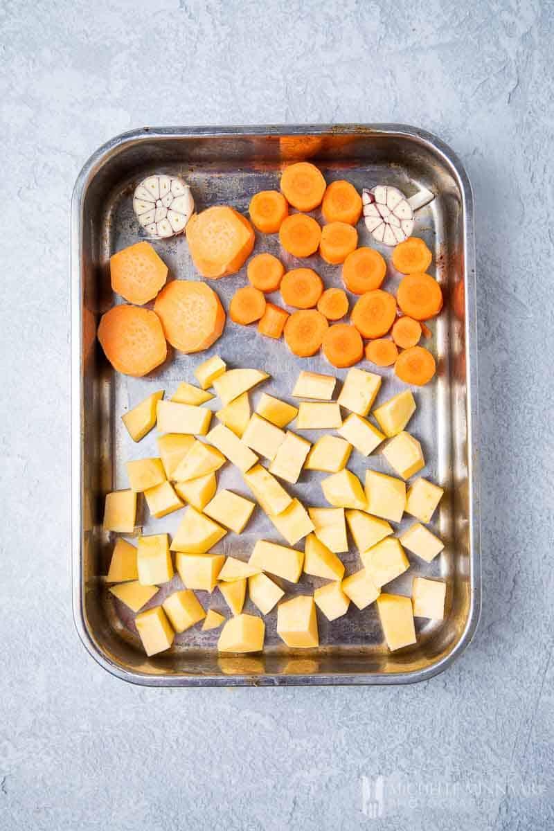 Vegetables Roasting in a metal tin