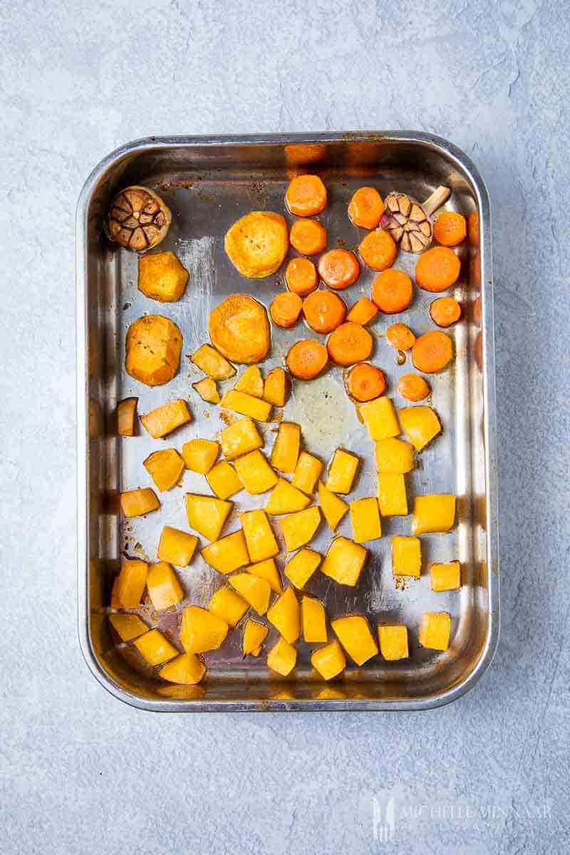Vegetables in a pan roasting