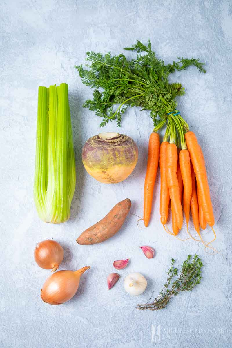 Ingredients to make swede soup
