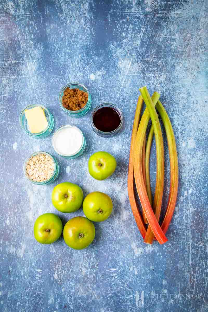 Ingredients to make apple and rhubarb crumble