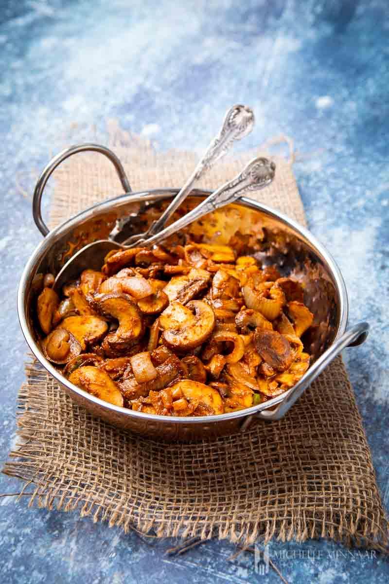 Bowl of mushroom bhaji