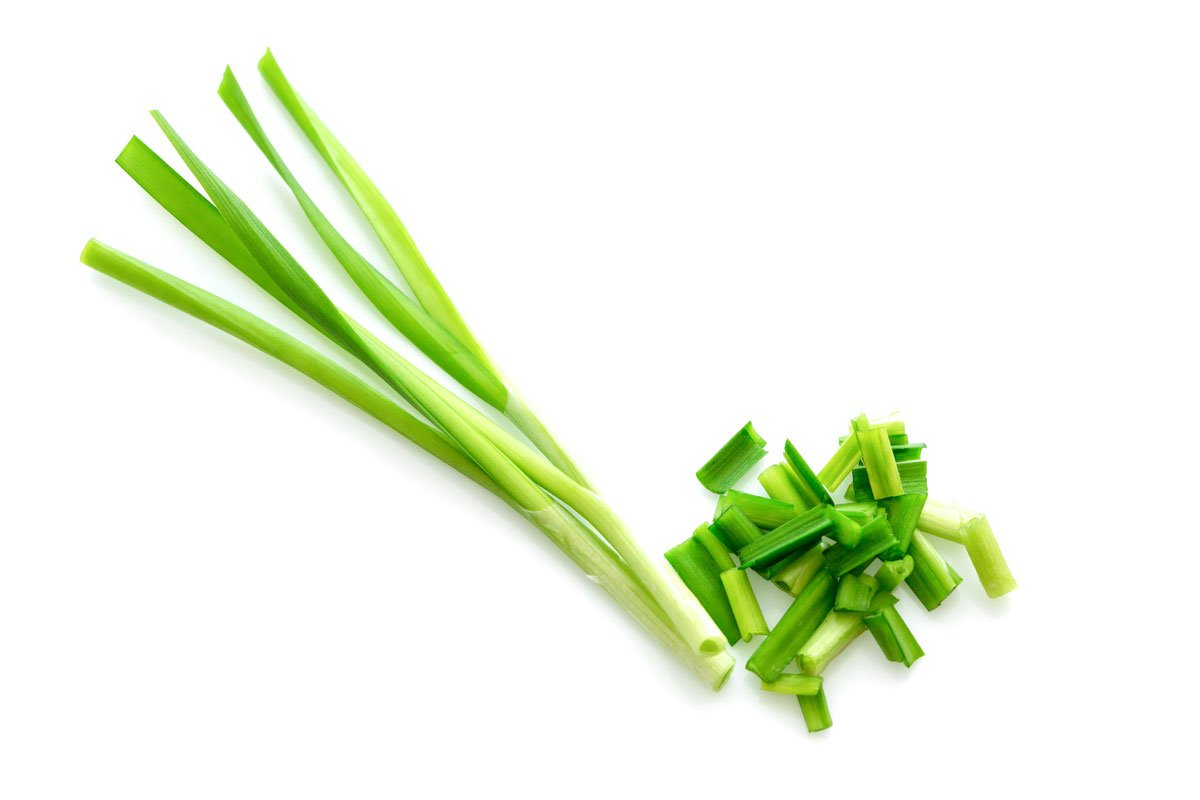 One bunch of chives with a white background